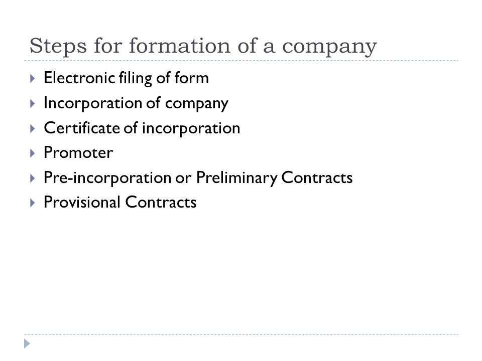 Formation Of Company Steps For Formation Of A Company Electronic