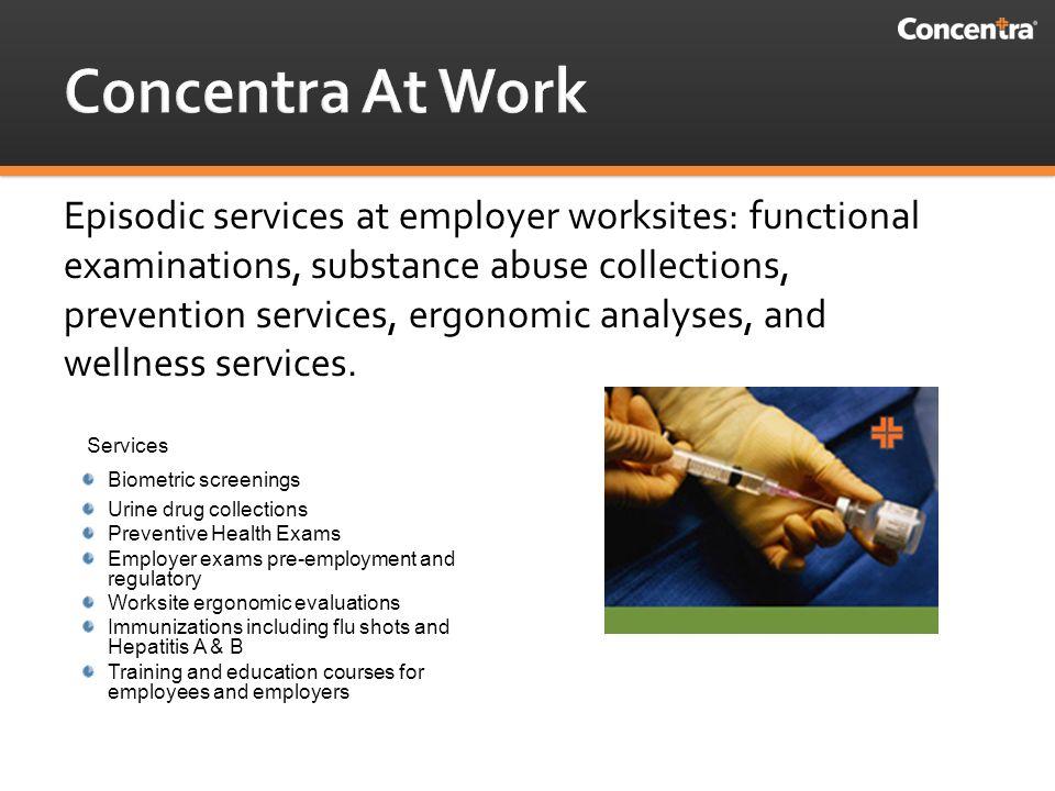 1 Medical Centers/Worksites/Episodic  3  Concentra Medical