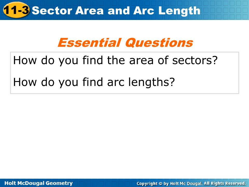 Holt McDougal Geometry 11 3 Sector Area And Arc Length