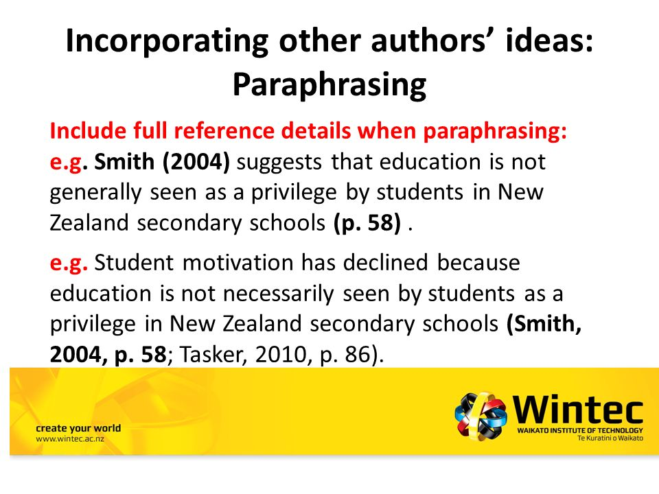 PARAPHRASING, QUOTING & SUMMARISING Student Learning