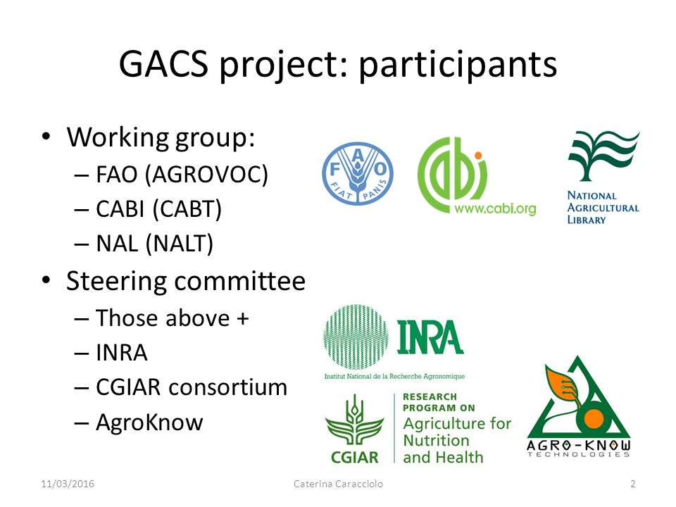 GACS: Towards a common concept scheme for information in