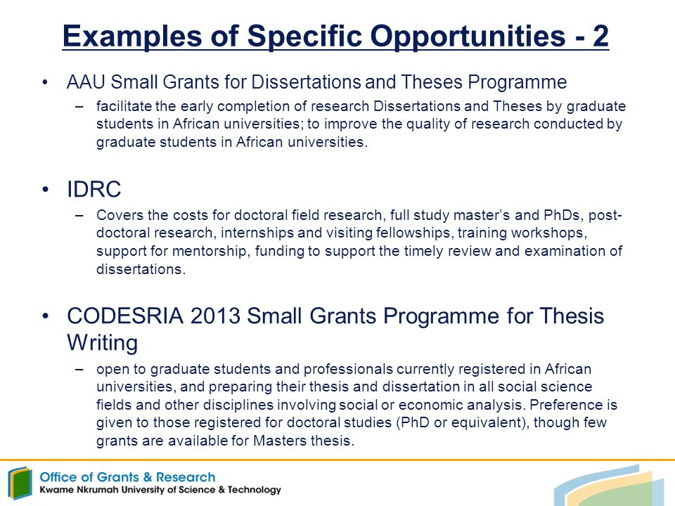 codesria small grants programme for thesis writing