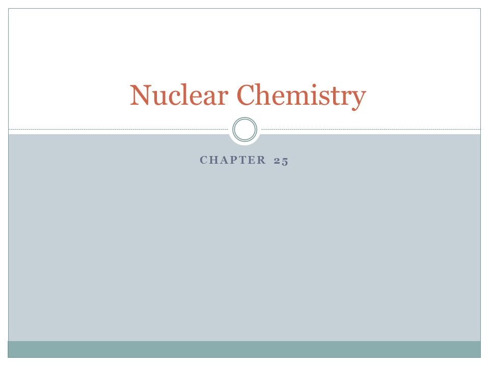 CHAPTER 25 Nuclear Chemistry Key Terms Radioactivity The