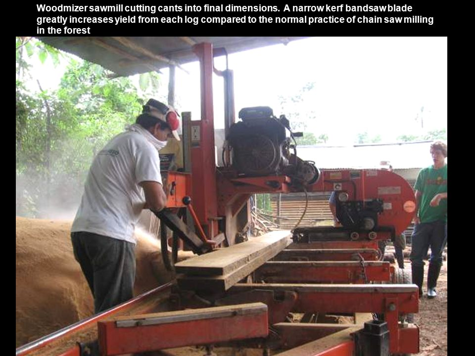 Woodmizer sawmill cutting cants into final dimensions.