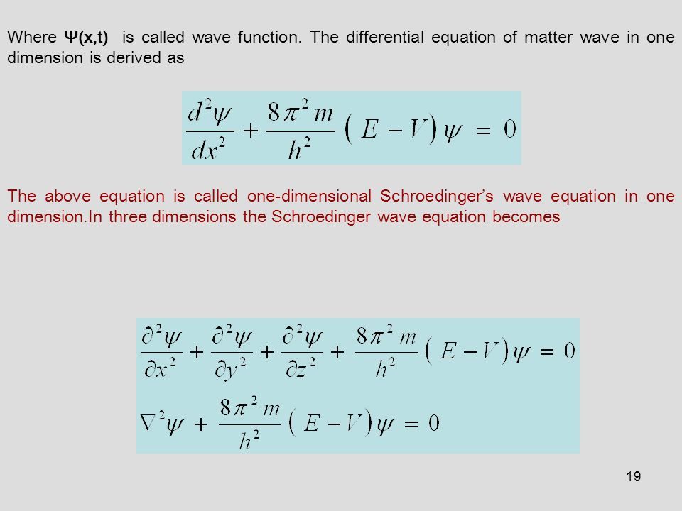 An equation for matter waves Seem to need an equation that involves