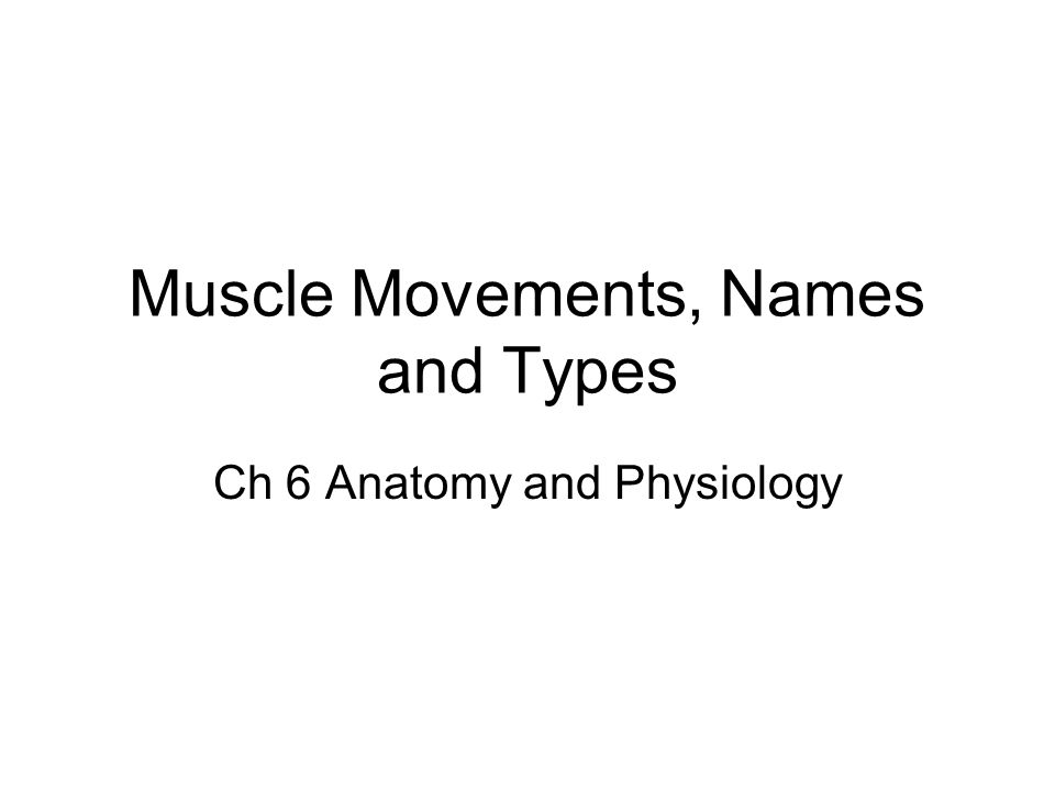 Muscle Movements, Names and Types Ch 6 Anatomy and