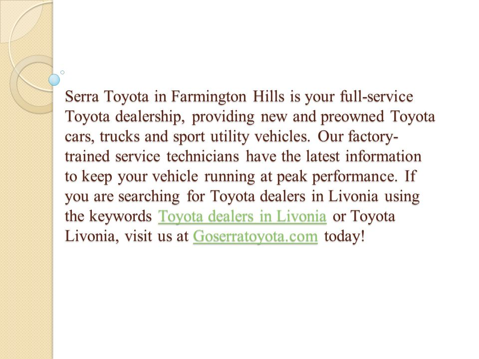 9 Serra Toyota In Farmington Hills ...