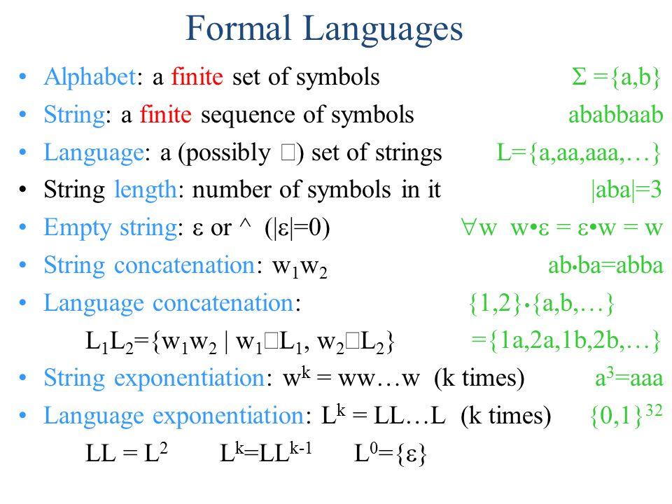 Formal Languages Alphabet A Finite Set Of Symbols String A Finite
