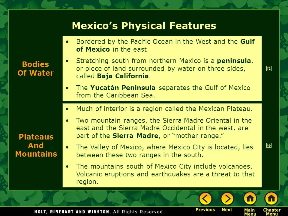 Chapter 6 Mexico Section Notes Physical Geography History And