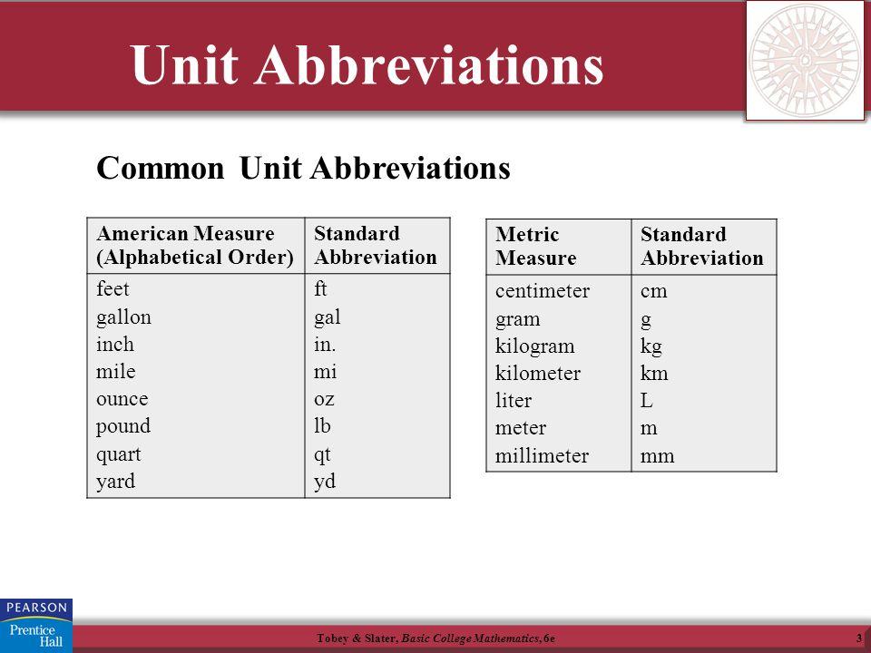 Tobey Slater Basic College Mathematics 6e3 Unit Abbreviations Common American Measure