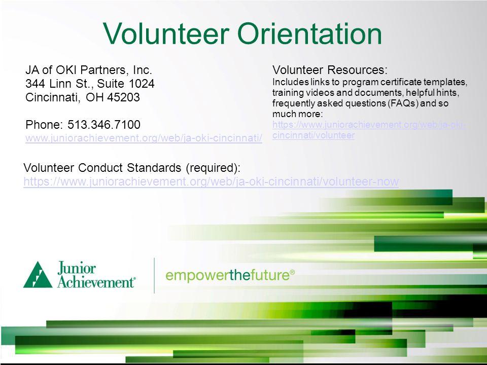 Volunteer Orientation Ja Of Oki Partners Inc 344 Linn St Suite