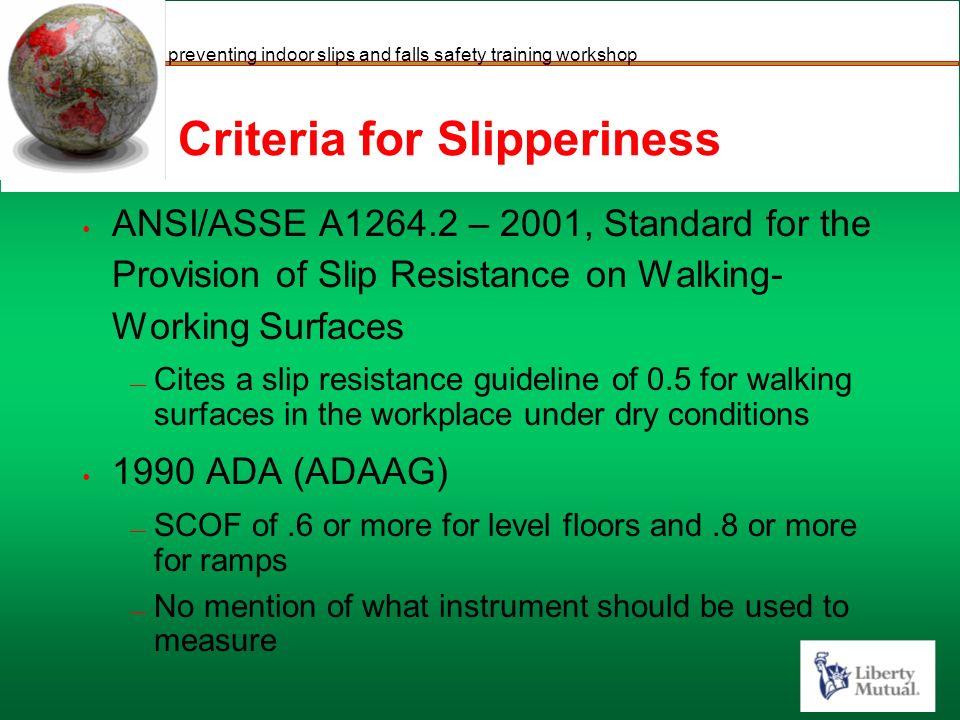 Preventing Indoor Slips And Falls Safety Training Workshop - Ada slip resistance