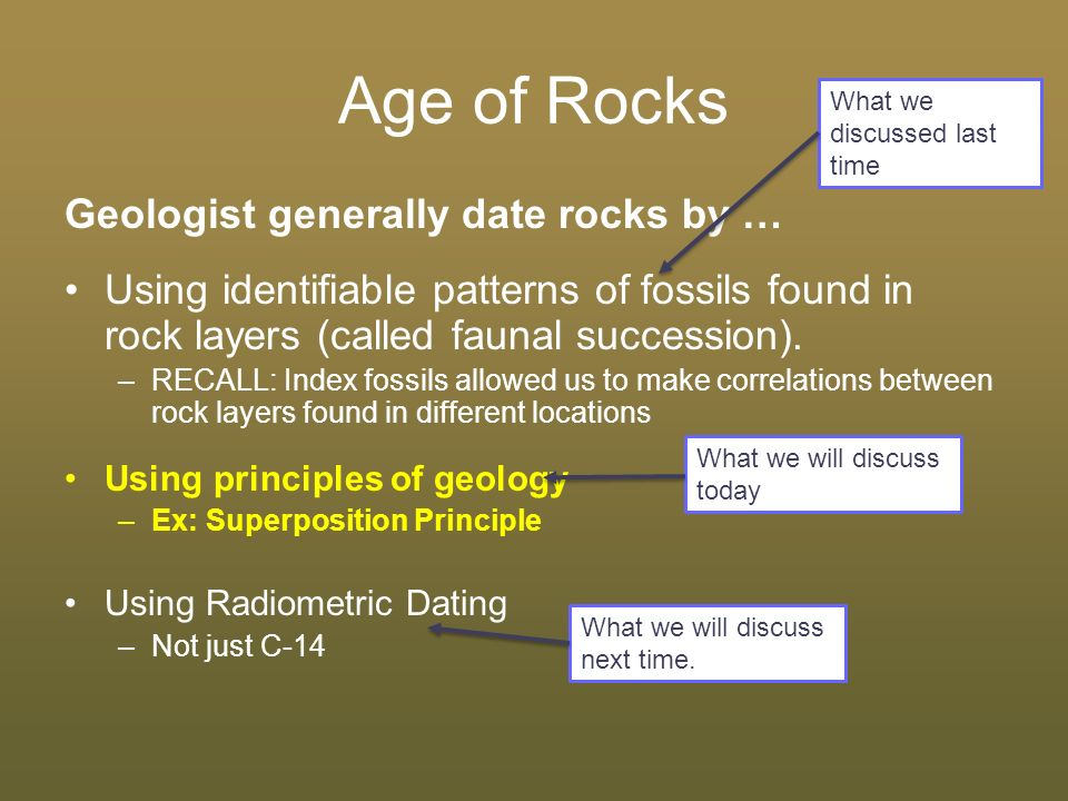 Absolute and relative dating of rocks