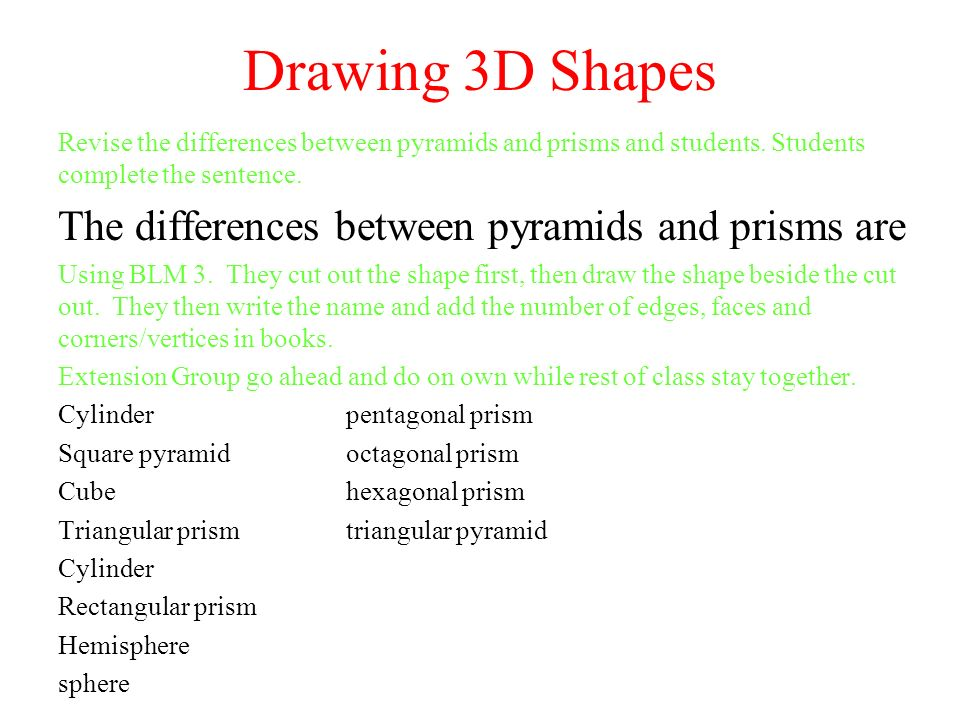 Drawing 3D Shapes Revise The Differences Between Pyramids And Prisms Students