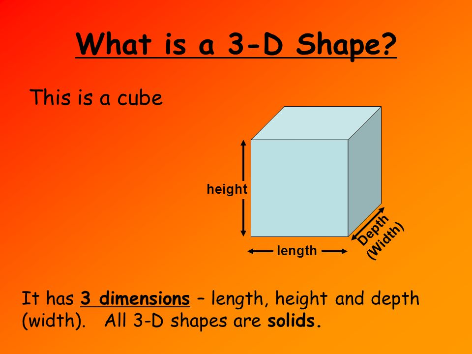 What Is A 3 D Shape This Cube Height Depth Width