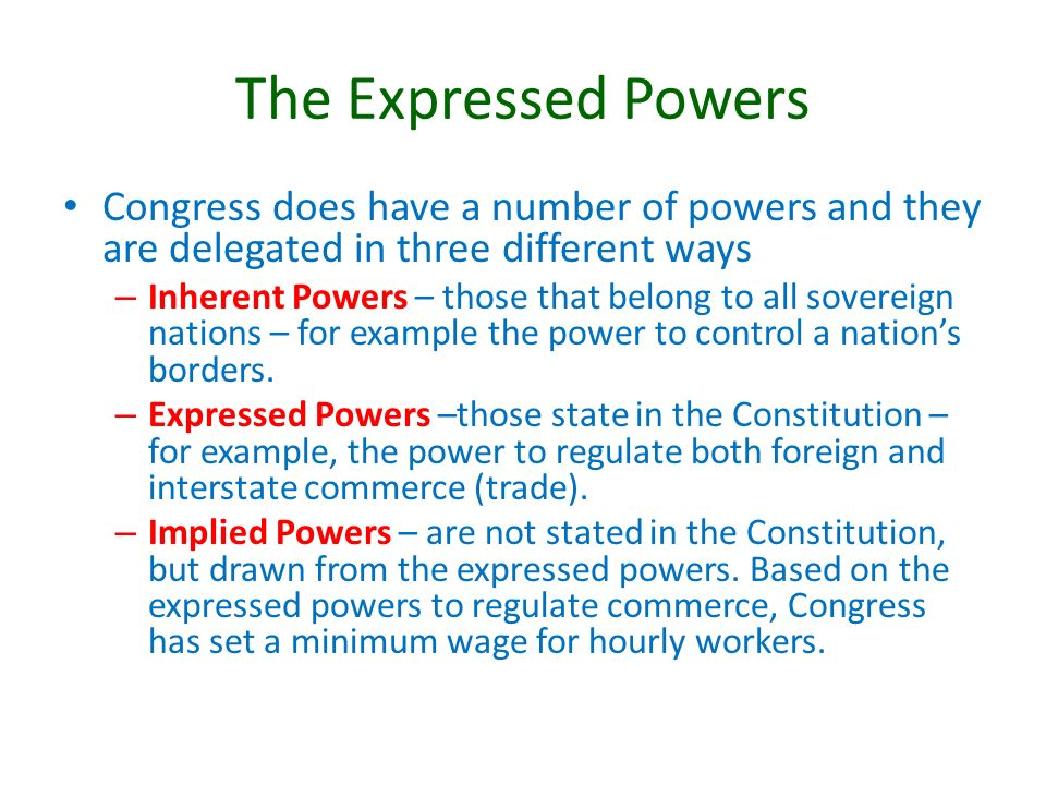 The Legislative Branch Chapter 4 Section 3 The Expressed Powers
