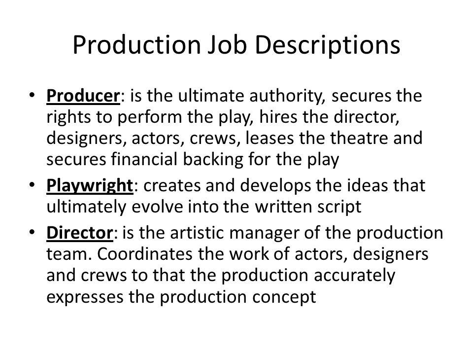 3 Production Job Descriptions ...