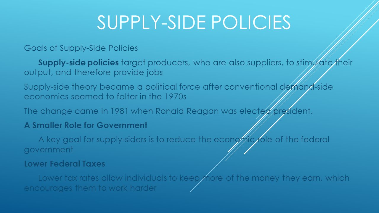 supply side policies This video of a live revision webinar for as macro evaluates supply-side policies designed to improve macroeconomic performance and address structural policy problems.