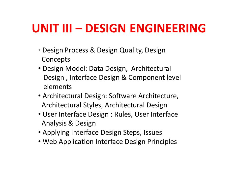 Unit Iii Design Engineering Design Process Design Quality Design Concepts Design Model Data Design Architectural Design Interface Design Component Ppt Download