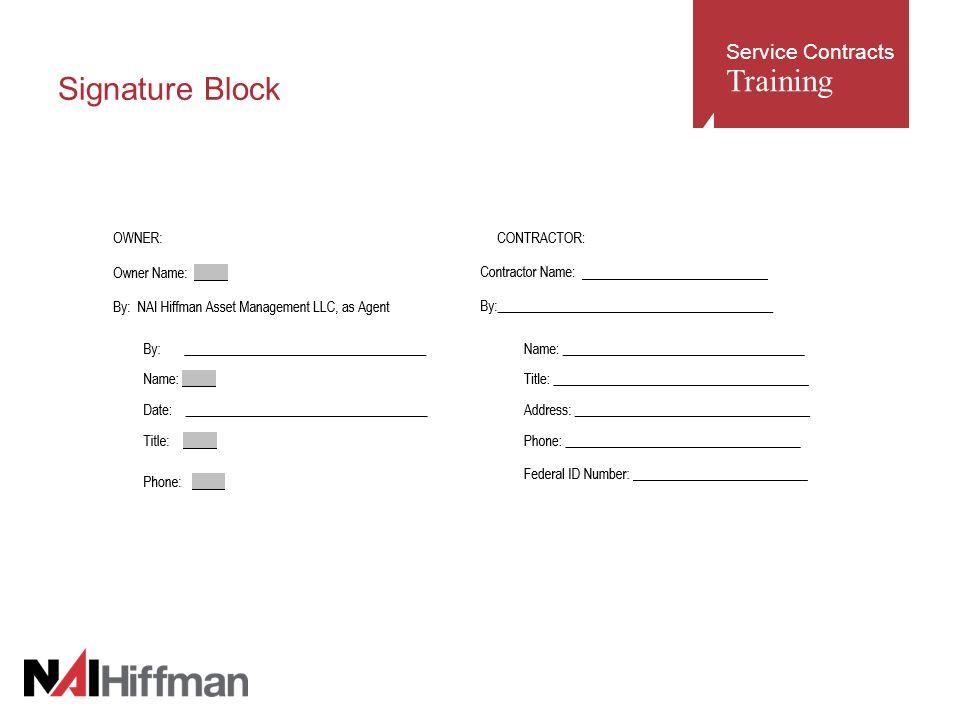 7 Service Contracts Training Signature Block
