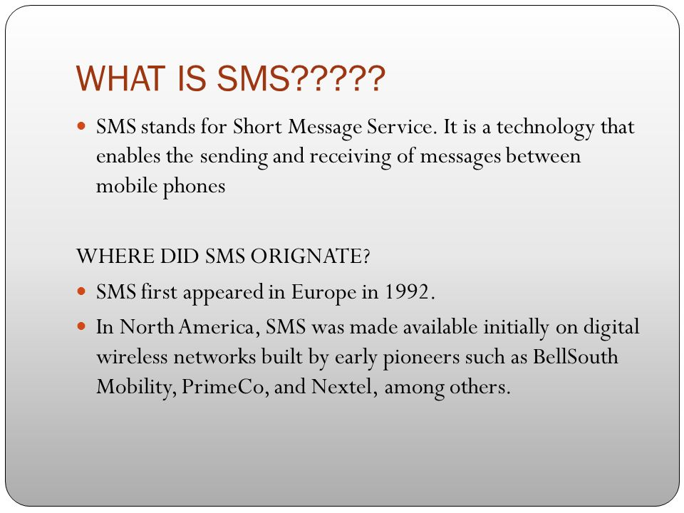 What Does Sms Stand For >> Dwan Alston Sms Technology What Is Sms Sms Stands For