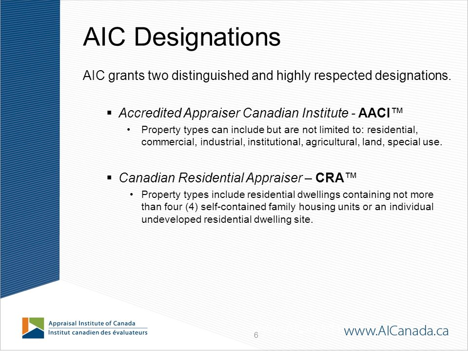 2 Presentation Overview About The Appraisal Institute Of Canada Aic