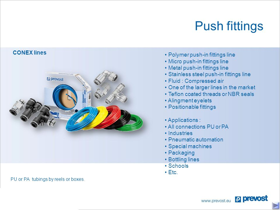 Push fittings CONEX lines PU or PA tubings by reels or boxes.