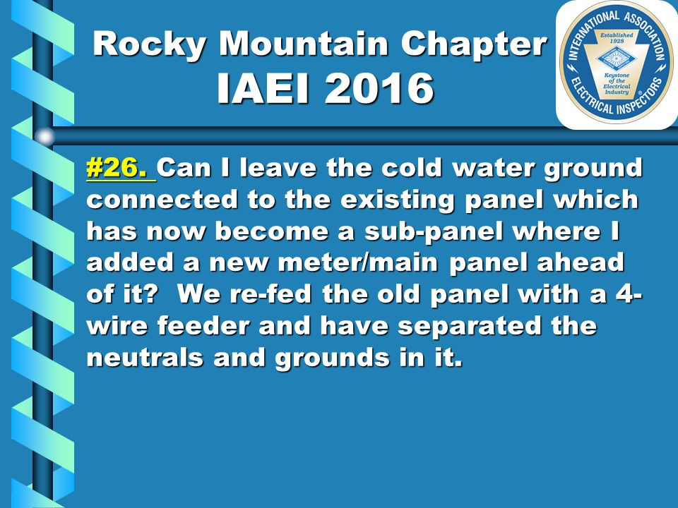 Rocky Mountain Chapter IAEI 2016 #1.#1. Type TC tray cable approved ...