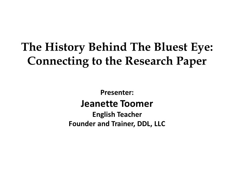 the bluest eye research paper