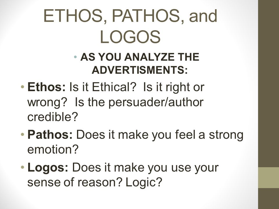 ETHOS, PATHOS, and LOGOS AS YOU ANALYZE THE ADVERTISMENTS: Ethos: Is it Ethical.