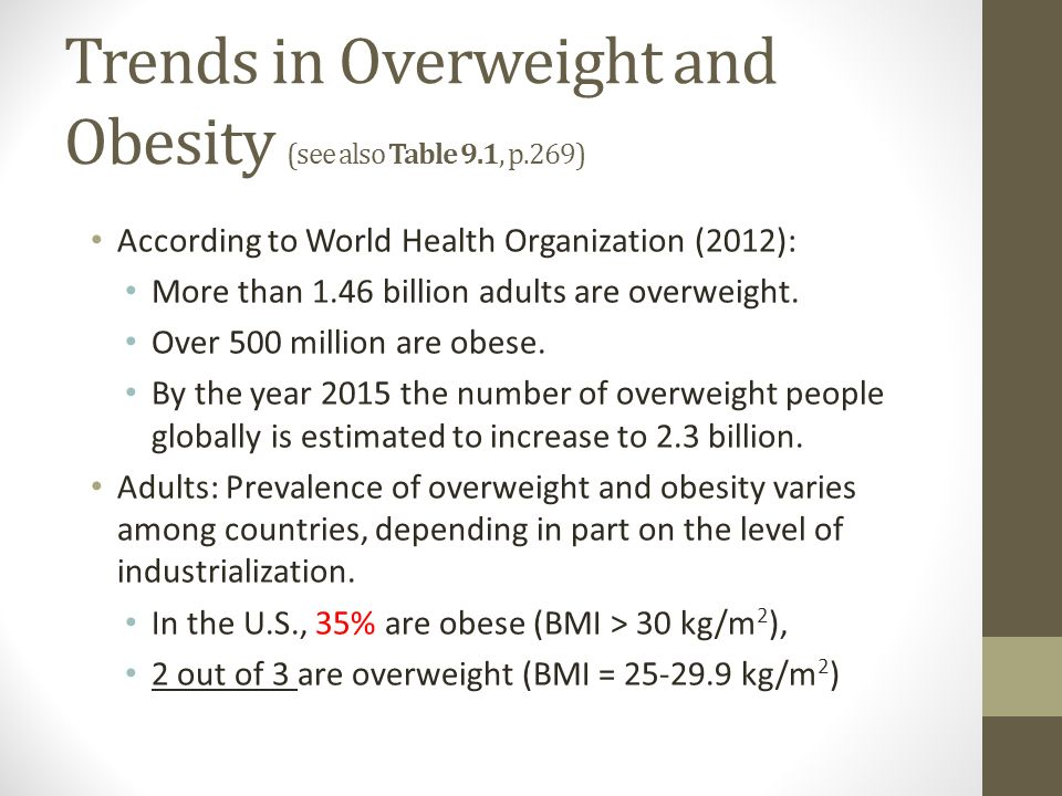 Trends in Overweight and Obesity (see also Table 9.1, p.269) According to World Health Organization (2012): More than 1.46 billion adults are overweight.