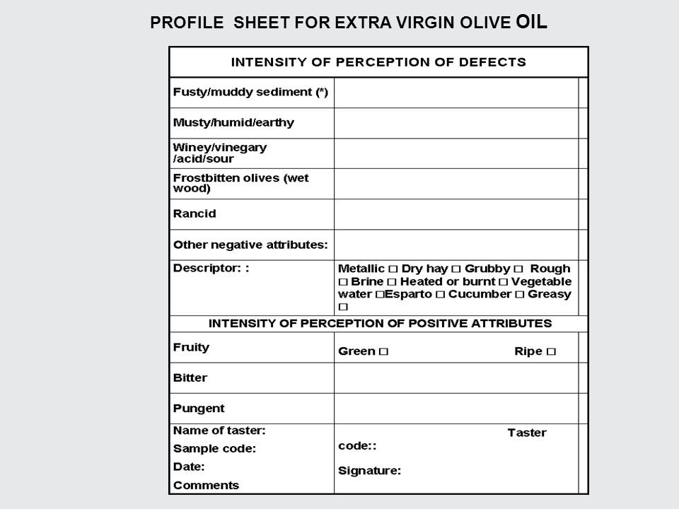 PROFILE SHEET FOR EXTRA VIRGIN OLIVE OIL
