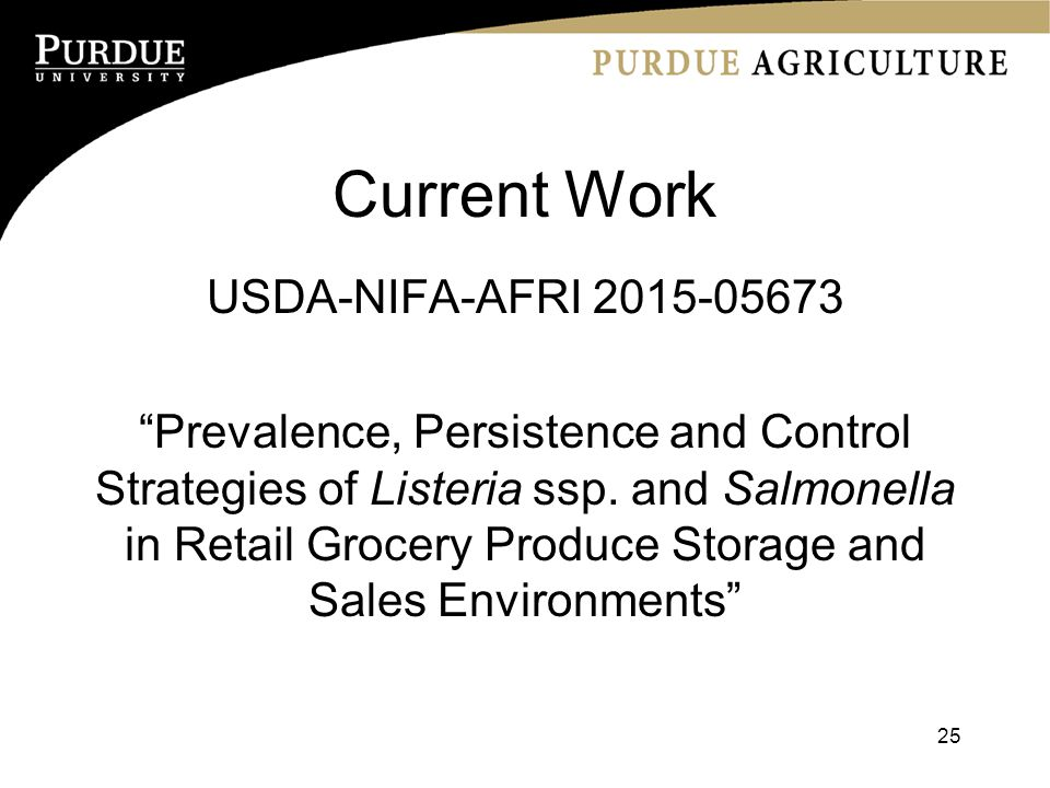 Current Work USDA-NIFA-AFRI Prevalence, Persistence and Control Strategies of Listeria ssp.