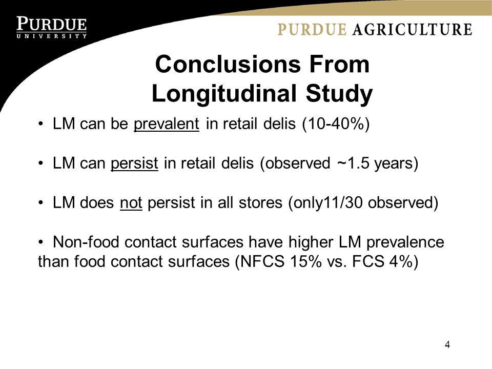 LM can be prevalent in retail delis (10-40%) LM can persist in retail delis (observed ~1.5 years) LM does not persist in all stores (only11/30 observed) Non-food contact surfaces have higher LM prevalence than food contact surfaces (NFCS 15% vs.