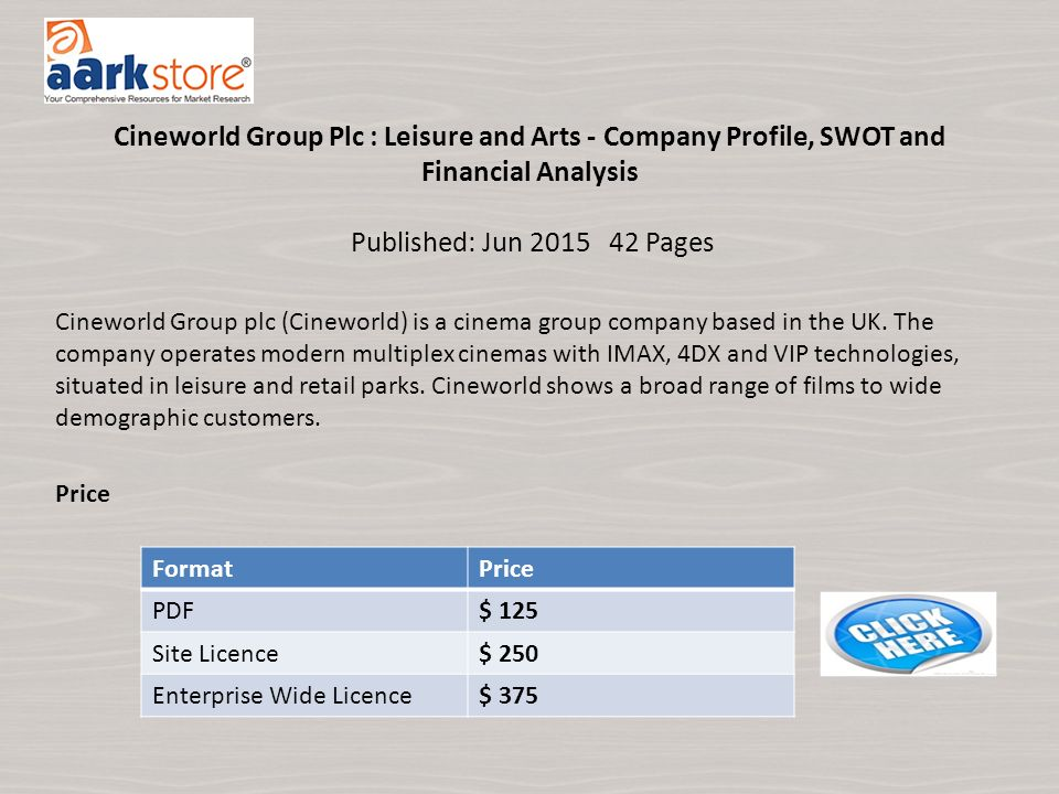Category : Travel and Tourism Cineworld Group Plc : Leisure