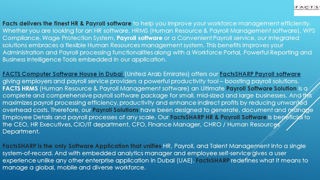 Important features of our HR & Payroll System (FactsSHARP) - ppt