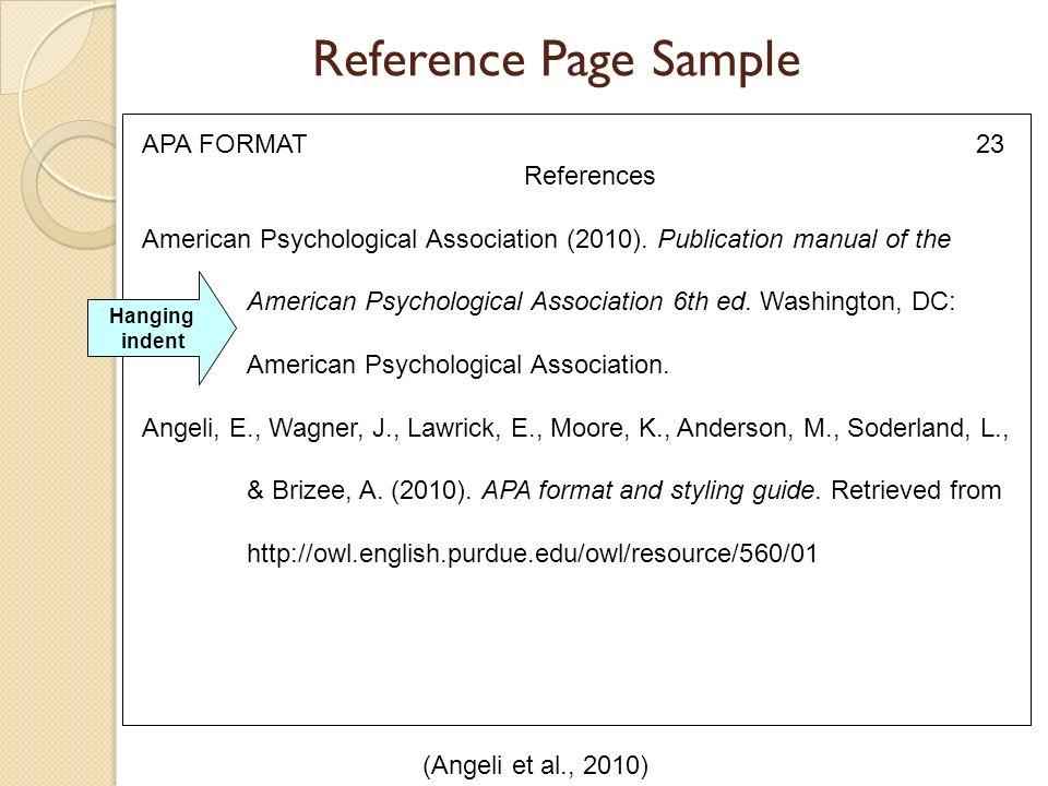 reference page sample angeli et al 2010 apa format 23 references american 24 references american psychological association
