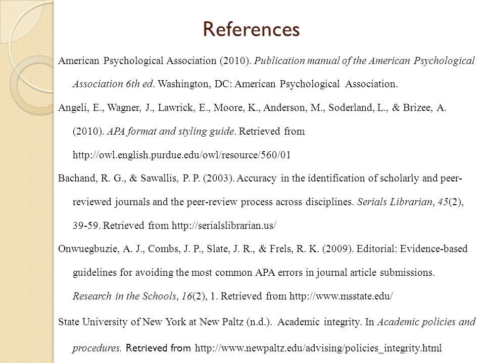 references american psychological association 2010