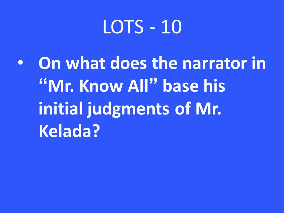 mr know all analysis