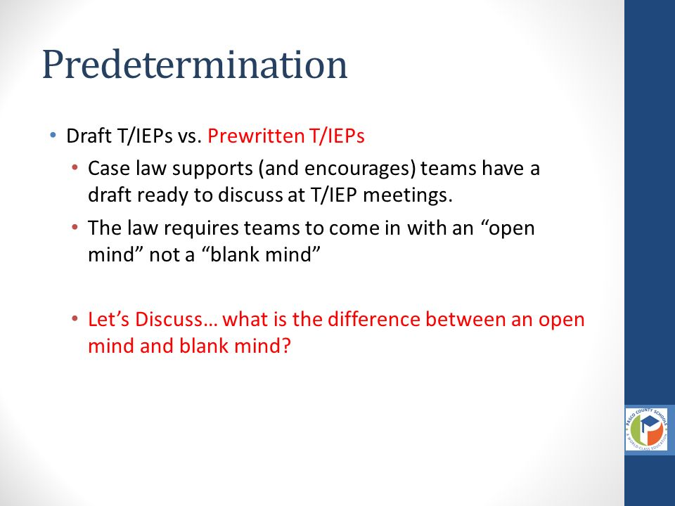 Predetermination In Iep Meeting >> Facilitative Meeting Process Kendra Gerlits Jenna Sage Phd