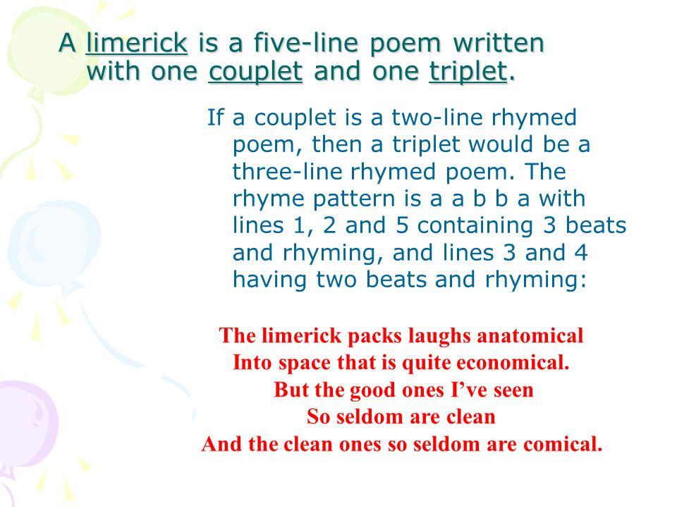 Limerick Fact File A Limerick Is A Five Line Poem Written