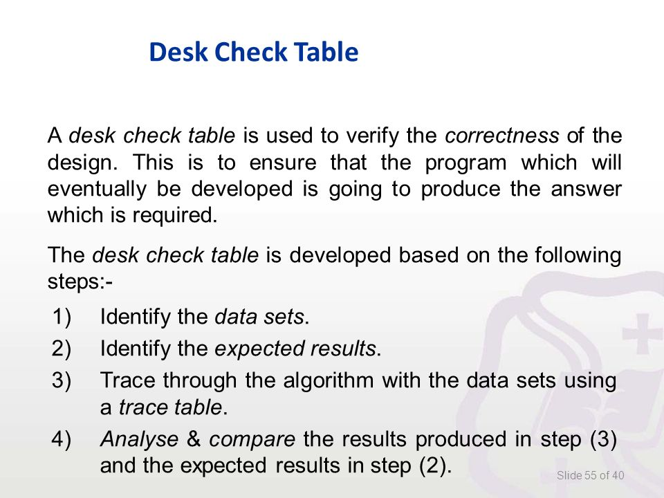 Desk Check Table Slide 55 of 40 A desk check table is used to verify the correctness of the design.