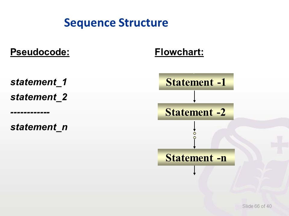 Sequence Structure Slide 66 of 40 Pseudocode:Flowchart: statement_1 statement_2 ------------ statement_n Statement -1 Statement -2 Statement -n
