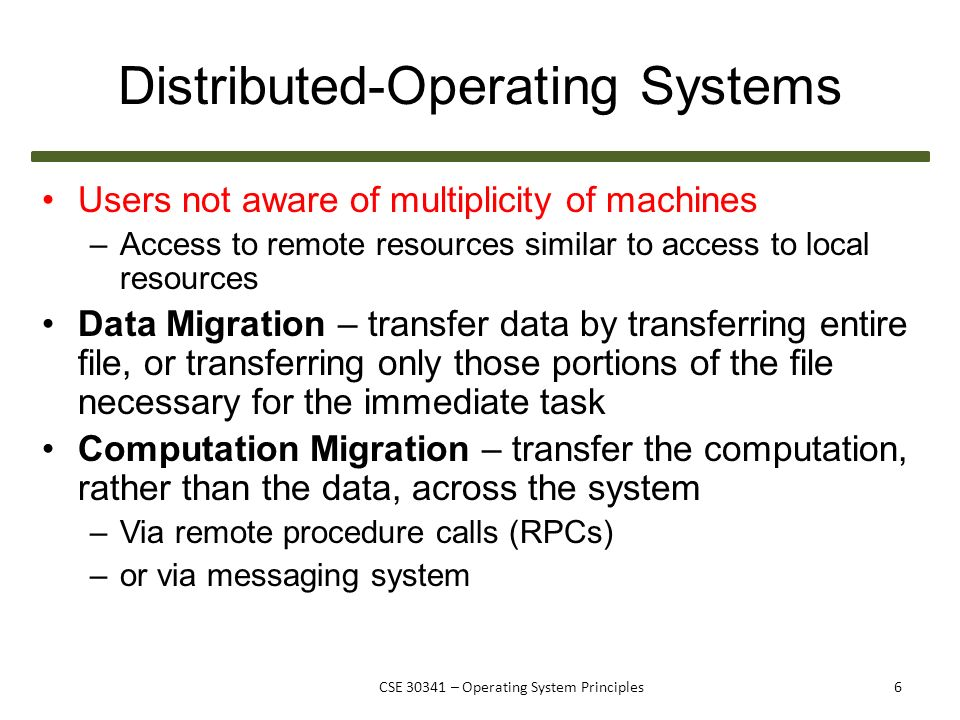 CSE Operating System Principles Distributed Systems & Networking