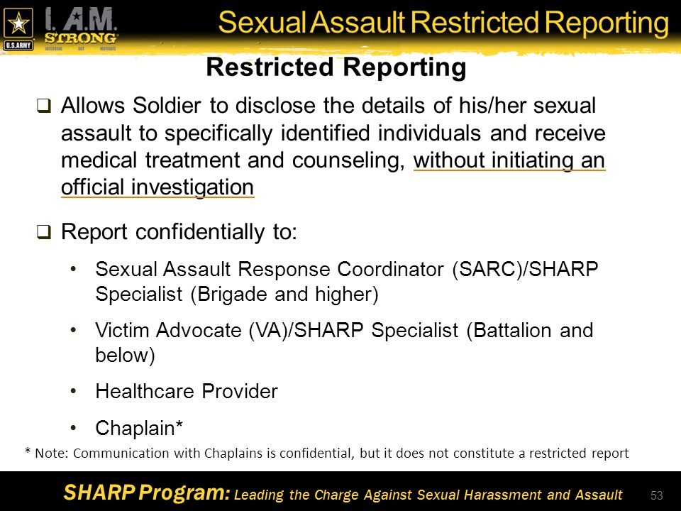 Us army sexual harassment restricted report