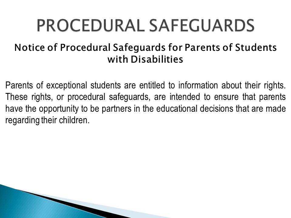 Parents Rights In Special Education Notice Of Procedural Safeguards >> Notice Of Procedural Safeguards For Parents Of Students With