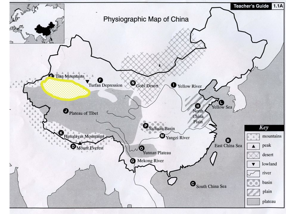 """Physiographic Map Of China Physiographic Map Study of China """"China's geography is an"""