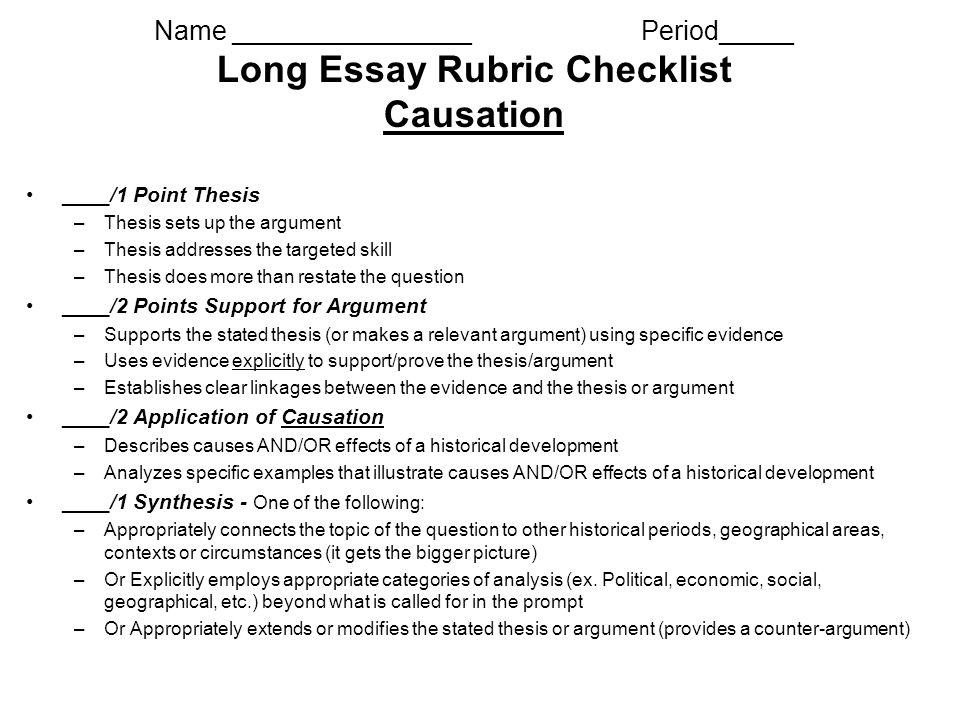 ap us history long essay rubric