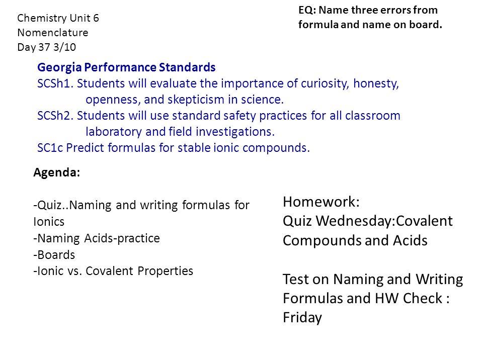 Chemistry Unit 6 Nomenclature Day 35 3 6 Homework Quiz On