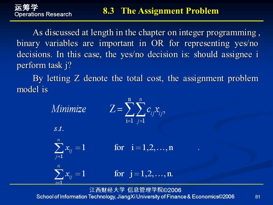 运筹学Operations Research 江西财经大学信息管理学院©2006 School of